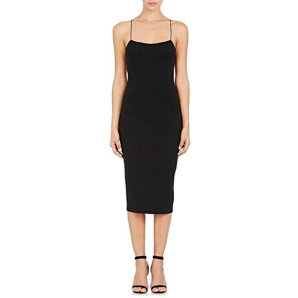 T by Alexander Wang Women's Jersey Fitted Midi-Dress ($145) ❤ liked on Polyvore featuring dresses, black, shelf bra, midi dress, mid calf dresses, scoop neck dress and midi cocktail dress