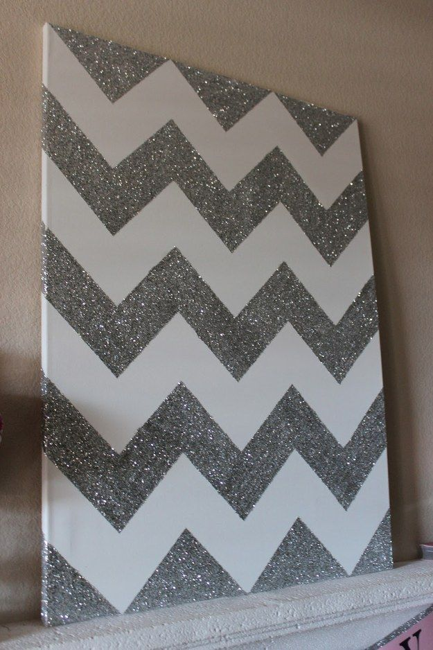 Glitter Chevron Canvas | Community Post: 18 Simple DIY Canvas Wall Hangings To Brighten Any Room