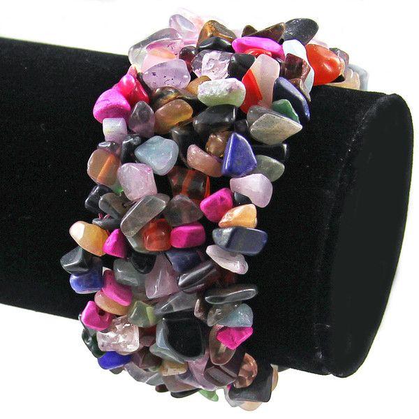 Mixed Stone Wide Style Chipped Gemstone Bracelet