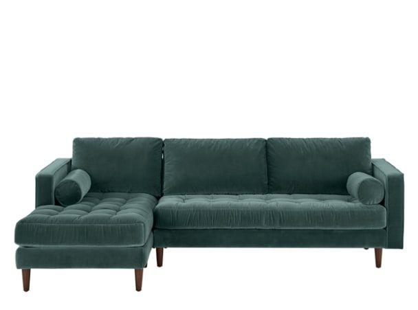 Scott 4 Seater Left Hand Facing Chaise End Sofa, Petrol Cotton Velvet
