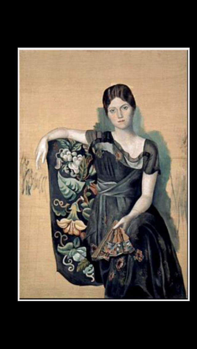 """Pablo Picasso - """" Portrait d'Olga dans un fauteuil """", printemps 1918 - Huile sur toile - 130 x 88,8 cm (..)"""