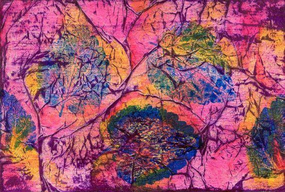 "ORIGINAL ART ""Leaves #3"" Acrylic Painting/Print Mixed Media Beautiful Nature Image"