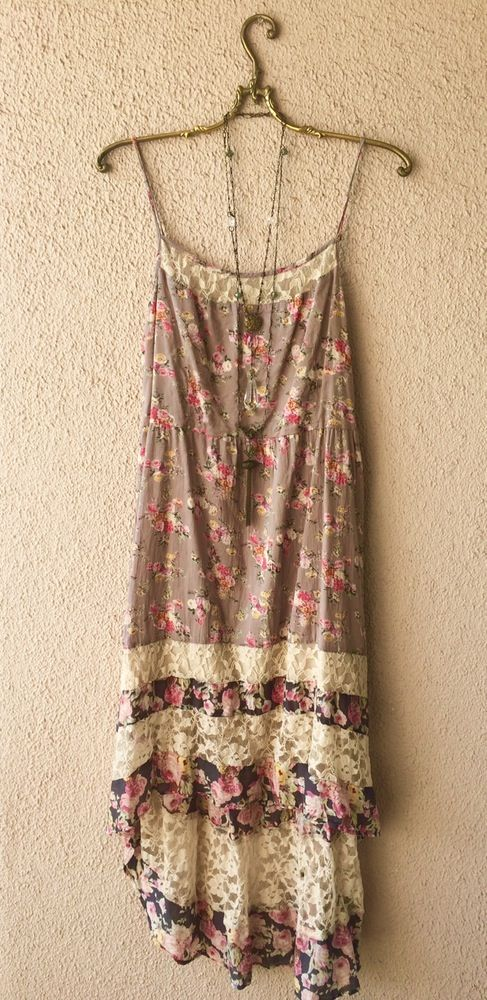 Image of Free People  hippie festival Coachella vintage floral print maxi dress