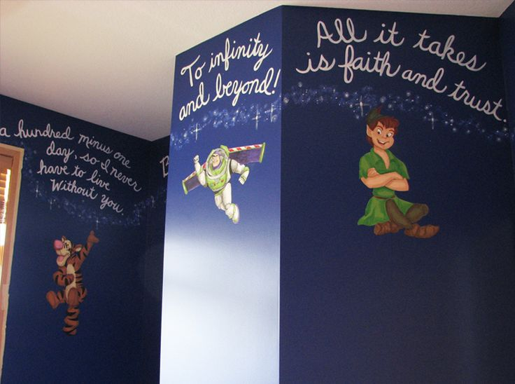"""Kids bedroom: Another pinner said: #6: Favorite Disney quotes! I love the Peter Pan quote """"All it takes is faith and trust!"""" Love how they displayed them on the walls in this room. #momselect #newfantasyland"""