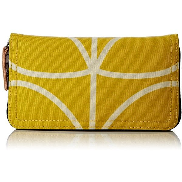 Orla Kiely Giant Linear Stem Big Zip Wallet (5.355 RUB) ❤ liked on Polyvore featuring bags, wallets, pattern bag, zipper bag, pattern wallet, yellow wallet and orla kiely wallet