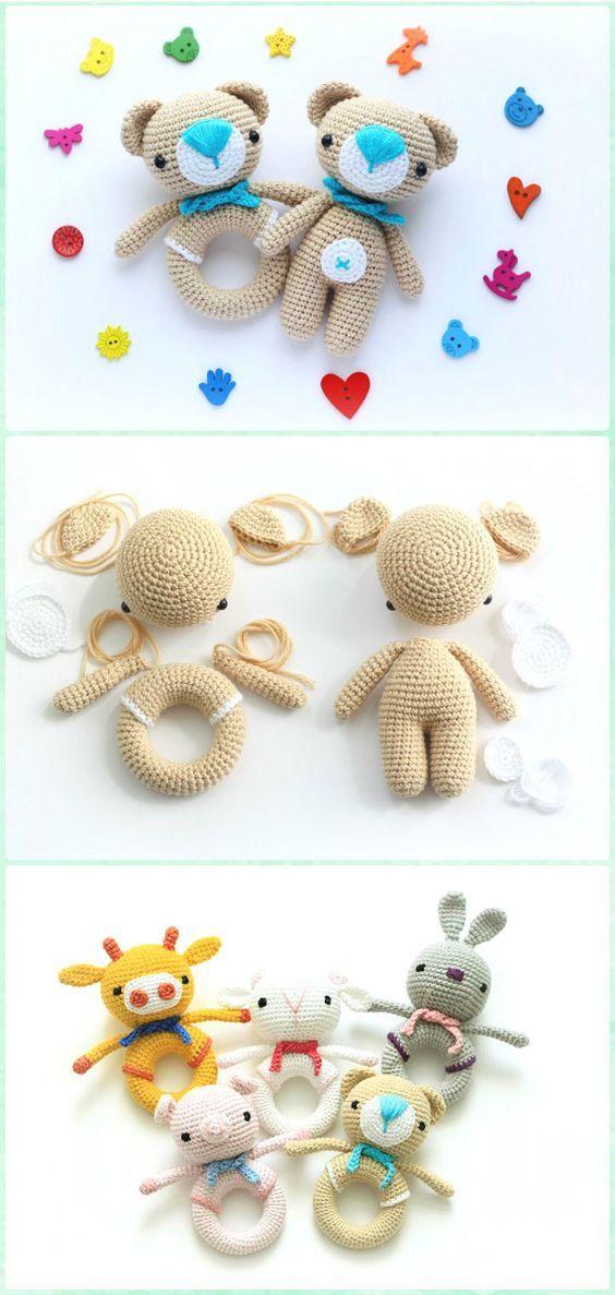 Amigurumi Crochet  Teddy Bear Rattle Free Pattern - Amigurumi Crochet Teddy Bear Toys Free Patterns