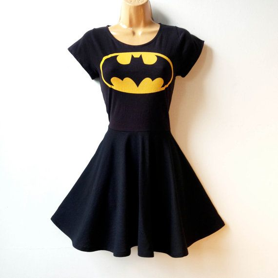 This Batman or Batgirl dress is made from a soft recycled tee shirts and black cotton/lycra jersey fabric. The fit and flare style is flattering for all figures, and its so comfy and fun to wear that youll want to wear it all the time. This dress is made to order, please choose a size from the size chart below <3  CARE: machine wash gentle or hand wash, air dry  MADE TO ORDER SIZING: Please allow up to 7 days for the item to be made and shipped.  LENGTH: If you would like a knee-lengt...