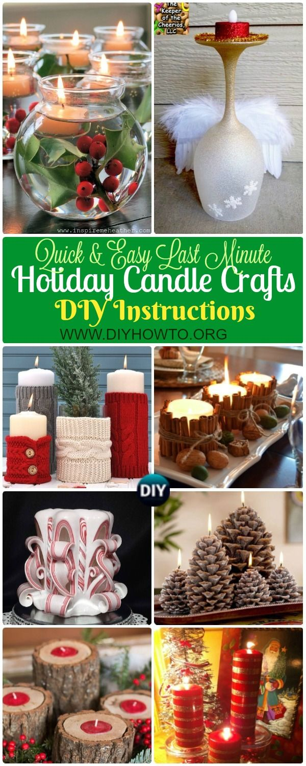 Collection of Quick Easy Last Minute Holiday Candle DIY Craft Ideas for Holiday Dinning Table: Pinecone, Wine Glass, Cinammon, Angel, Spray Paint, Floating Candle Holders via @diyhowto