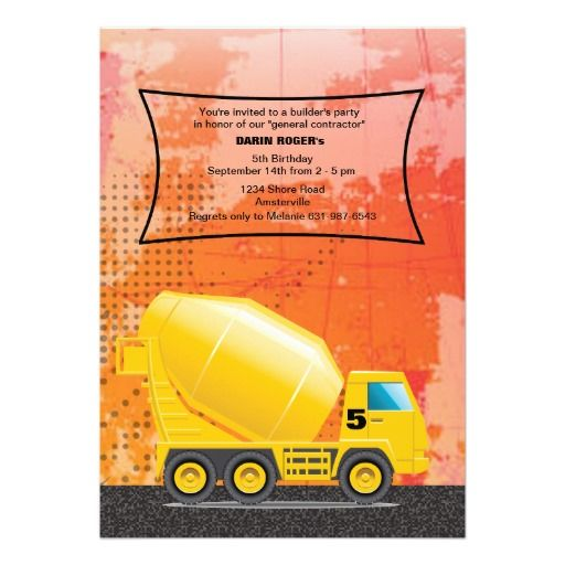 36 best Construction Vehicles Birthday Party Invitations images on - fresh invitation card for birthday online