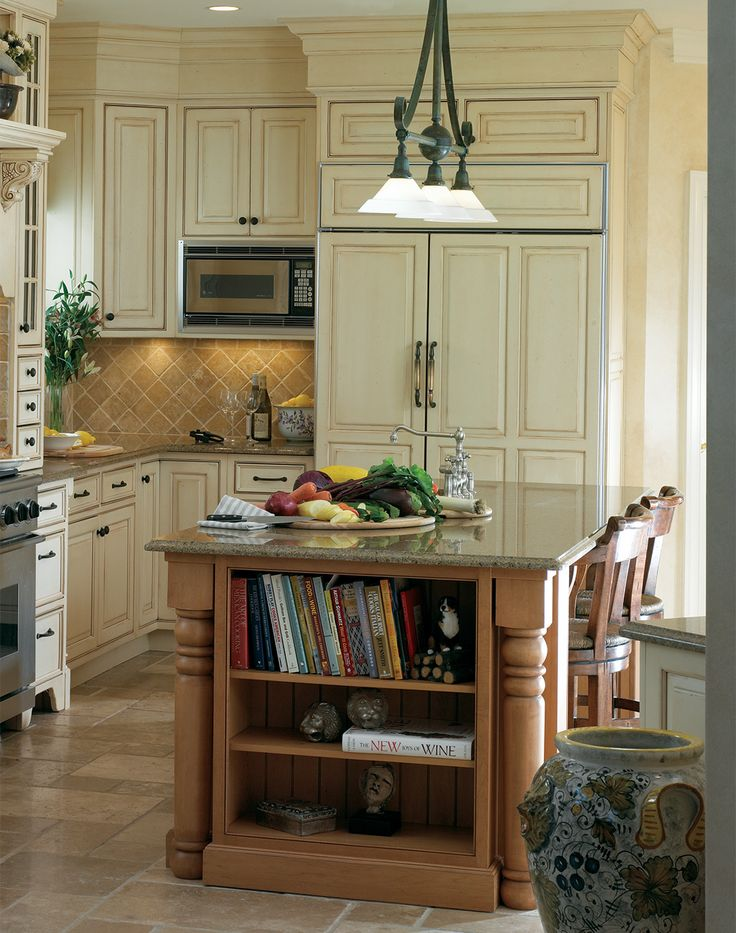 White Traditional Kitchen Cabinets With Island End Storage For Cookbooks  And Other Knick Knacks