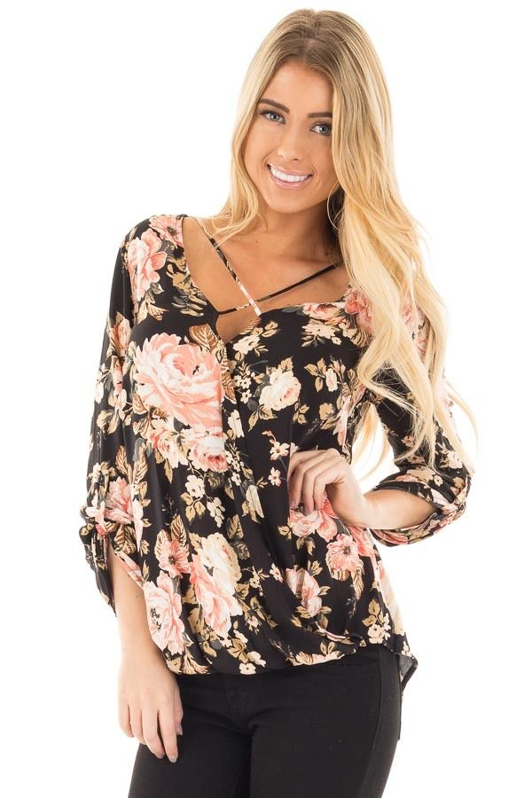 Lime Lush Boutique - Black Long Sleeve Floral Hi-Low Wrap with Criss Cross Top, $32.99 (https://www.limelush.com/black-long-sleeve-floral-hi-low-wrap-with-criss-cross-top/)