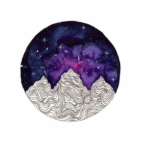 Mountains Watercolor Painting Pink Galaxy Art by SkyesArtworks // these colors for the night sky in shoulder cap tattoo