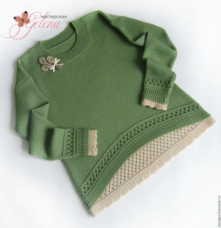 """Kid's Pullover / Пуловер для девочки """"Лесная фея"""" - оливковый, однотонный, пуловер вязаный, пуловер для девочки"""