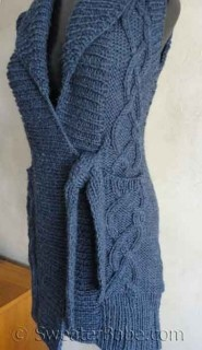 Photo of #122 Tie-Front Cabled Long Vest PDF Knitting Pattern  #SweaterBabe.com #knitting