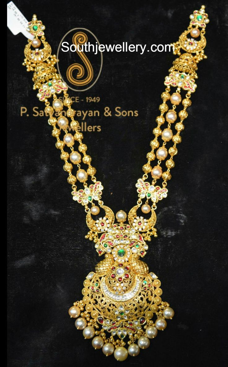 Beautiful 22 carat gold chains with matching pendant designs latest - 22 Carat Gold Antique Finish Gold Balls Haram With Beautiful Pendant Adorned With Kundans And South
