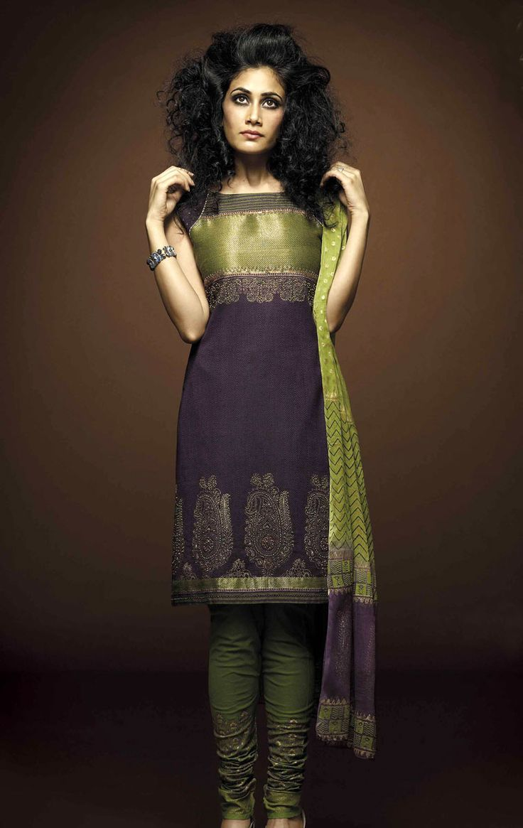 Cotton Salwar Kameez, Designer Salwar Suits  – Purple & Green Cotton Churidaar Salwar Kameez is garnished with embroidery & embellishments that are unpretentious and add grace to your personality.