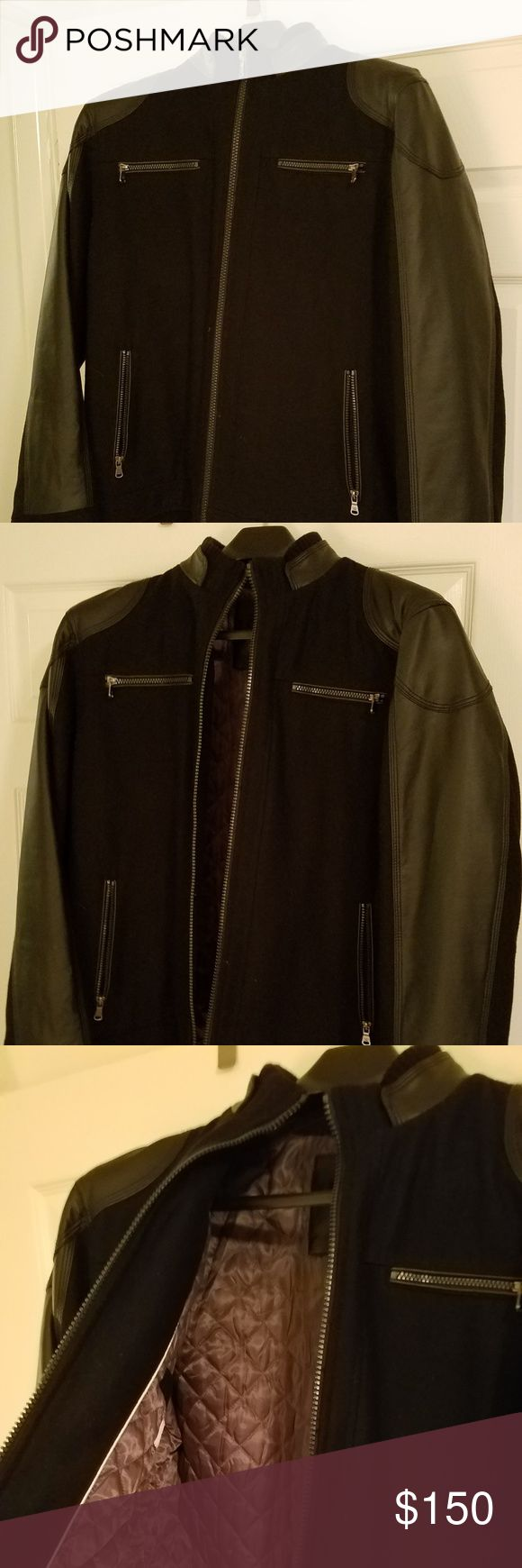 Calvin Klein Men's Leather Jacket This Calvin Klein jacket is essentially brand new! Was worn once or twice and is in VERY good condition. The jacket is very warm and stylish.  Has two zippers near the chest, and two on the sides. Size: Large.  If you'd like more or different pictures, please let me know and I'd be happy to work something out! :) Calvin Klein Jackets & Coats Bomber & Varsity