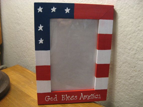 Personalized Americana Frame 4th of July God Bless America patriotic picture photo frame on Etsy, $12.95