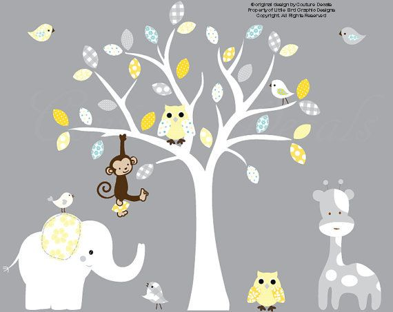 Vinyl wall decal nursery owl white tree wall by couturedecals