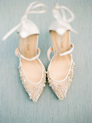 Handmade bridal pumps with embellished mesh | Photo by Carrie House