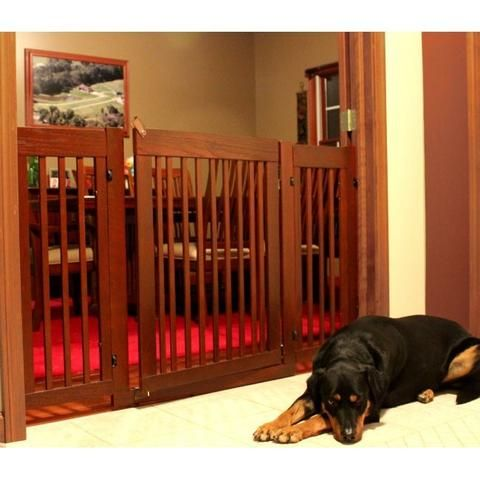 This Modern Pressure Mount Pet Gate is a tall 36 inches high - perfect for keeping large breed dogs in their place. This gate is constructed by Amish craftsman using solid oak for durability. Easy pre