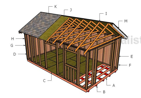 12x20 shed plans free diy pole barn barn and tiny houses for Gable roof barn plans