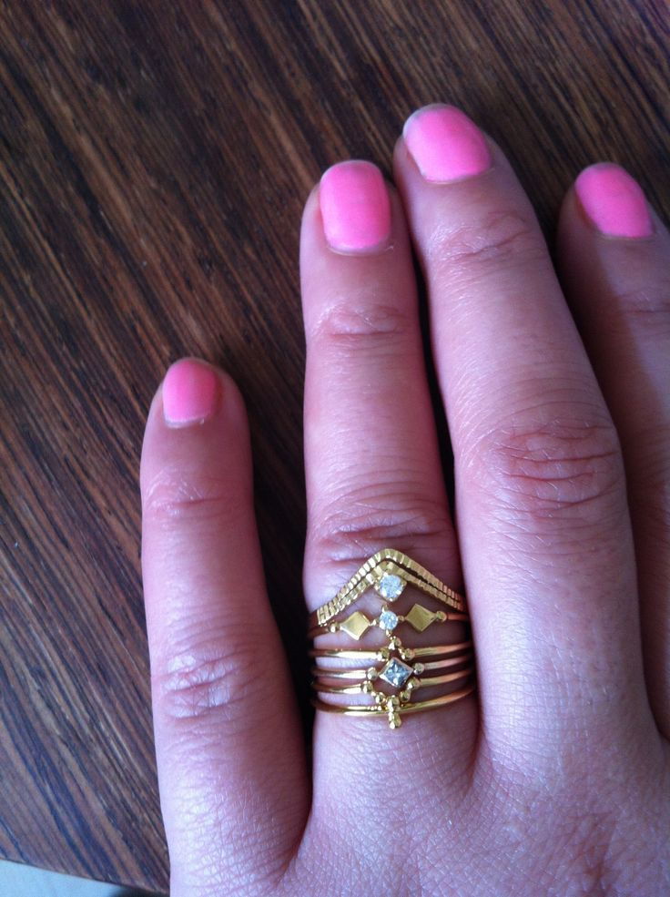 Kinz Kanaan gold rings in 14K solid gold. Mix and create your own design.