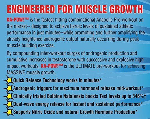 Natural Anabolic Preworkout- KA-POW! Anabolic Preworkout, KA-POW! Anabolic Preworkout is the Fastest Hitting Anabolic Pre-Workout On The Planet. Powerful Androgenic Triggers, Nitro Pump Precursors, and Dual Wave Energy Release for Non-Stop Performance. KA-POW! Natural Anabolic Preworkout Designed to work in Minutes!