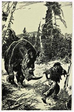 Dlouhosrsty nosorozec. Pocitove je zde prilis mnoho detailu, takze neni mozno se soustredit hlavne na nosorozce a pracloveka, ktery pred nim prcha. I kdyz se zda, ze nososrozec je staticky, tak podle mne bezi. Problematika u mamutu a nosorozcu, hrochu a slonu je, ze vzhledem k jejich vaze vzdy jsou tri nohy na podkladu a pouze jedna je ve vzduchu. Jejich beh je ladny na rozdil od komihaveho cloveka, ktery musi vyrovnavat teziste. Moznost je castecne rozmazat obrysy zvirete, nebo okoli.