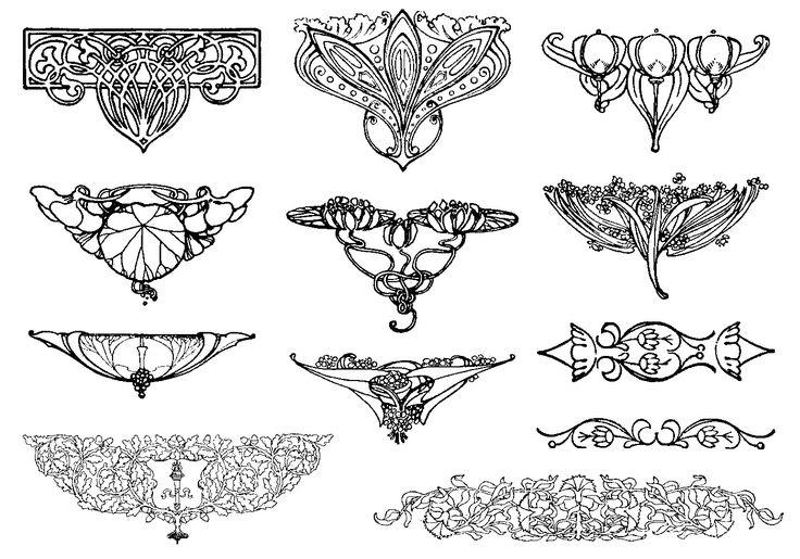 art nouveau centerpieces floral ornaments  illustration