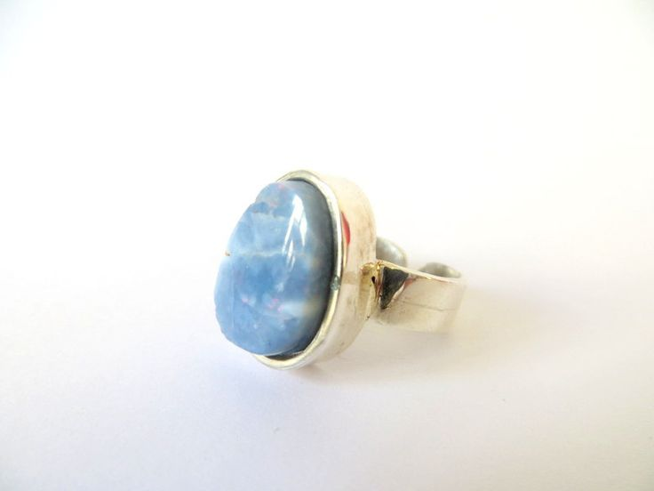 Sterling Silver Blue Opal Ring by Picossa on Etsy