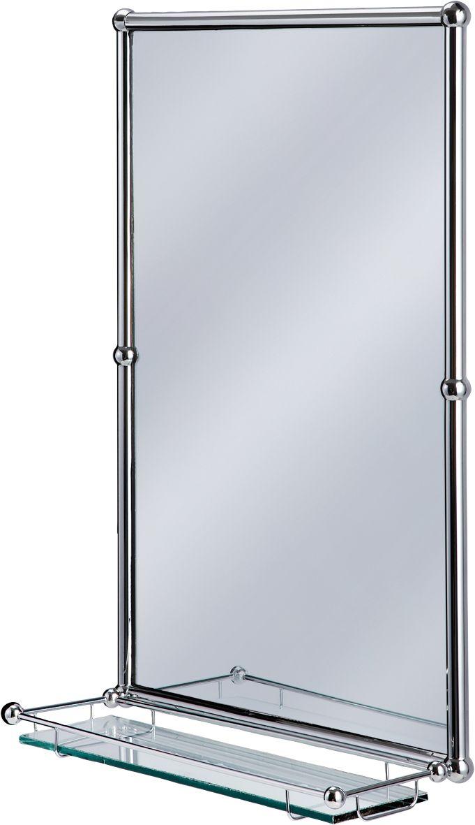 Burlington bathrooms chrome rectangular mirror with shelf bathroomand co uk