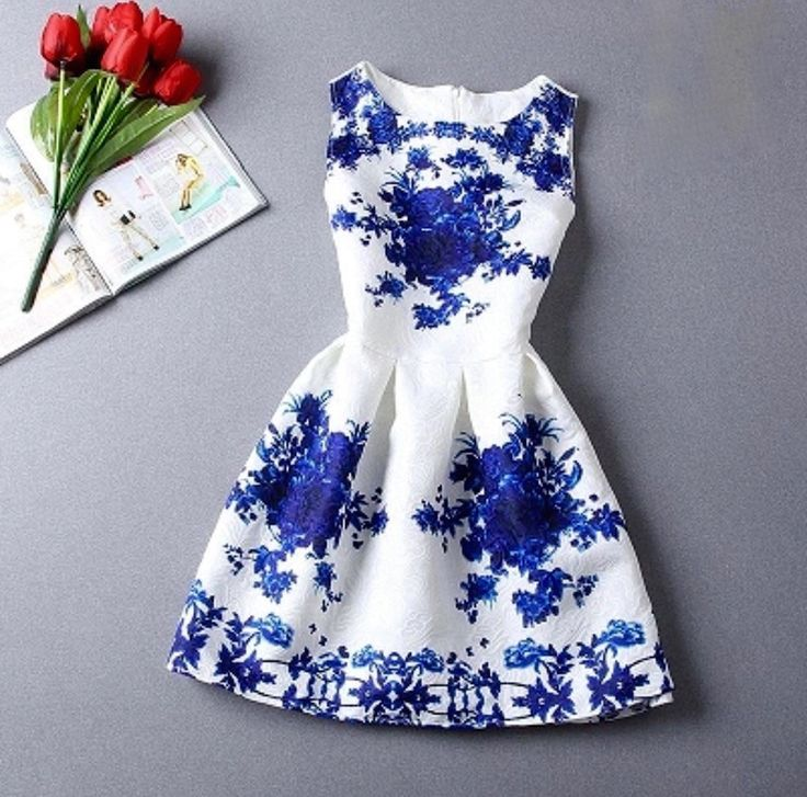 Leslie Fit And Flare Embellished Dress in White and Blue