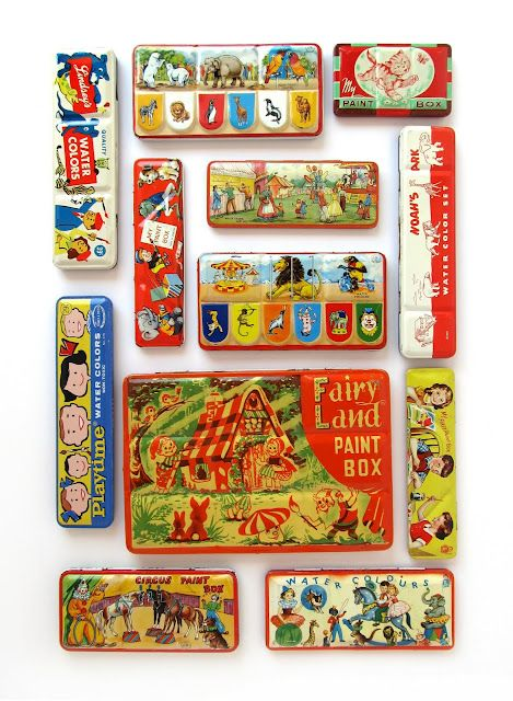 Vintage Watercolor Tins; I remember these from my childhood, I always wanted the biggest one!