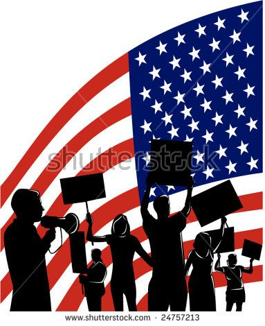 American People protesting development #protesters #silhouette #illustration