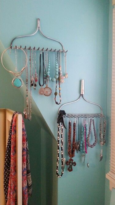 Uses for old rakes, jewelry holders!