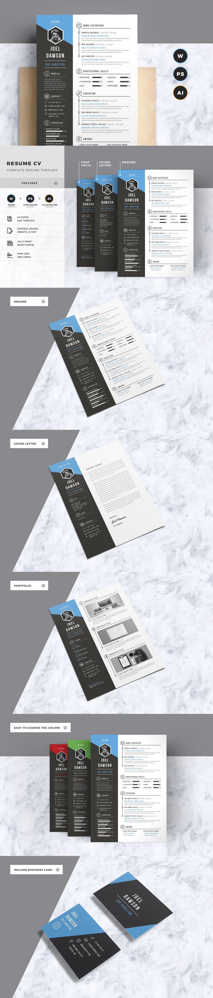 Design poster microsoft word - Resume Cv Template Ai Eps Psd Ms Word Cv Designresume Designposter