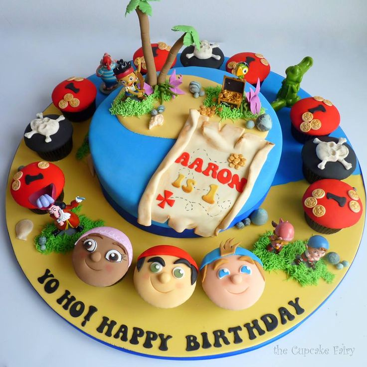 From The Cupcake Fairy based in Paisley, Scotland.  See her facebook page for details! Jake and the Neverland Pirates birthday cake