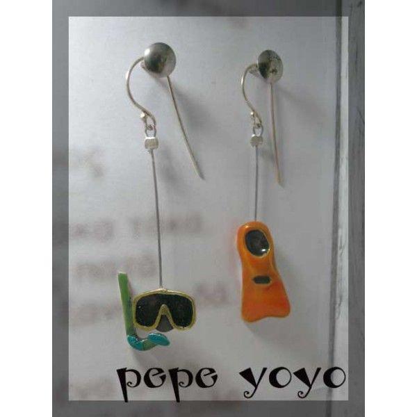 μάσκα βατραχοπέδιλο , σκουλαρίκια - Pepeyoyo