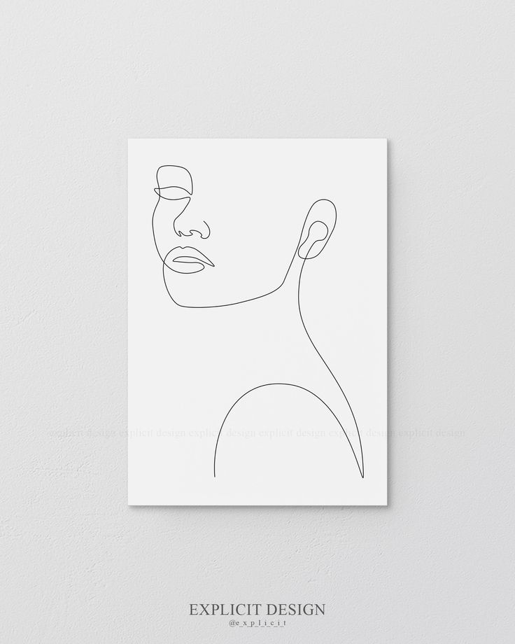 Printable Face Contour Drawing Sketch Art, Woman In One Single Line, Black and White Female Poster, Minimalist Beauty Illustration Print – Anja Carina C.