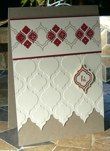 handmade card ... Mosaic Madness suite ... vanilla with burgundy and kraft ... luv the border edge made by trimming off some of the tiles on the embossing folder texture ... great use of the suite!! ... Stampin' Up!