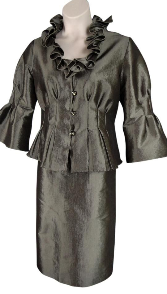 Silver Two-piece Cocktail. Free shipping and guaranteed authenticity on Silver Two-piece CocktailNicolette Plus Size 16 two-piece skirt suit with b...