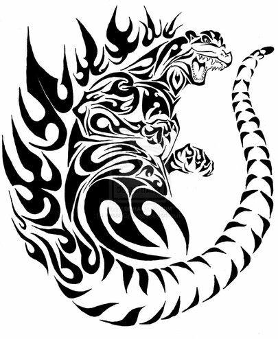 #Godzilla , #Tribal Tattoo