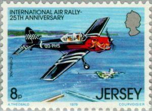 Sello: Airplanes (Jersey) (International Air Rally, 25th Anniversary) Mi:JE 199,Sn:JE 209,Yt:JE 193,AFA:JE 193