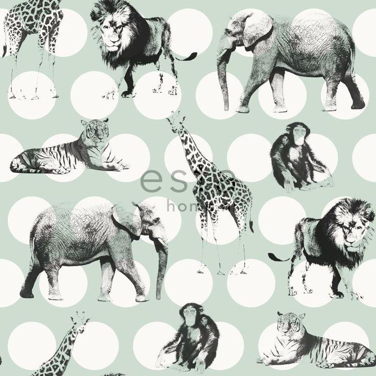 krijtverf vliesbehang dieren met stippen mint groen en zwart. Collectie Everybody Bonjour ESTAhome.nl