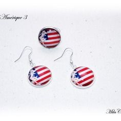 Boucles d'oreille drapeau américain + bague pin up drapeau amérique fait main milacréa