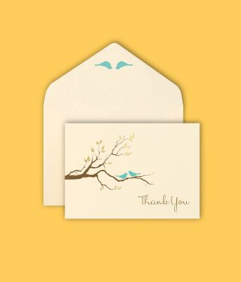 Michaels.com Wedding Department: BRIDES® Love Birds Thank-You Cards Coordinate your thank you cards with your invitations.80 lb. stock. Hand-write your message
