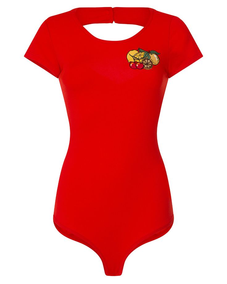 'Brandi Mae' Red Fruit Embellished Bodysuit - Bodysuits - Tops - Clothing