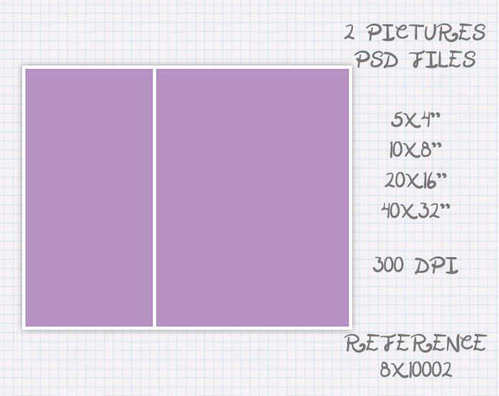 Foto Plantilla collage storyboard de 5x4 10x8 16x20 32x40 pulgadas landscape & portrait (2 fotos) ref 8x10002 de JuanmiDesigns en Etsy