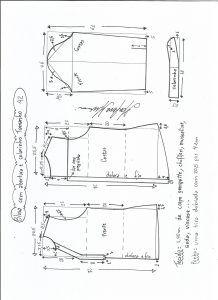 Блуза схема моделирования с открытием и средним воротником размер 42.